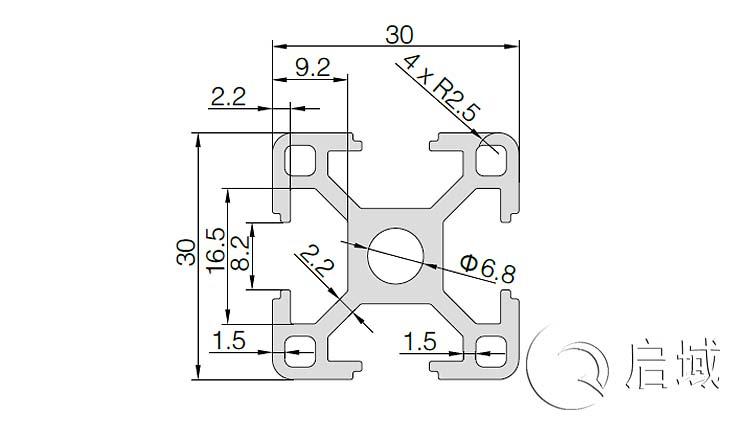 QY-8-3030黑色铝型材图纸