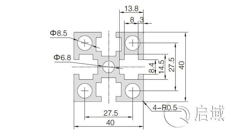 QY-8-4040GW国标铝型材图纸