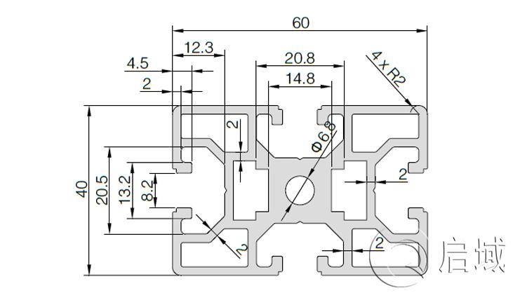 QY-8-4060欧标铝型材图纸