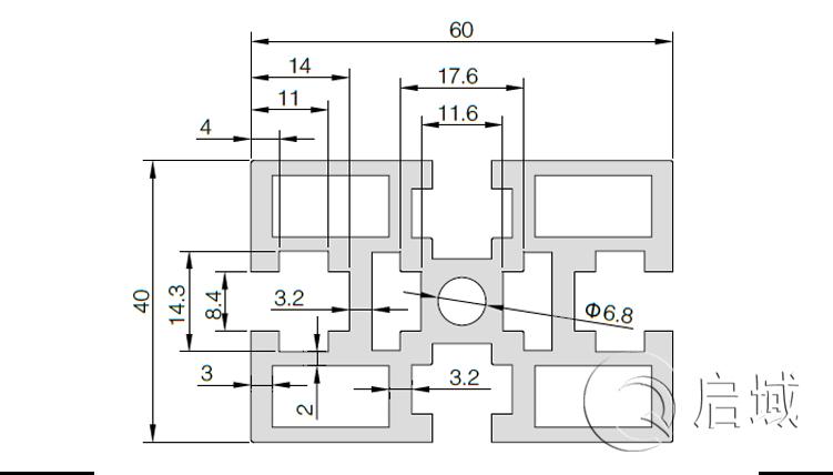 QY-8-4060G国标铝型材图纸