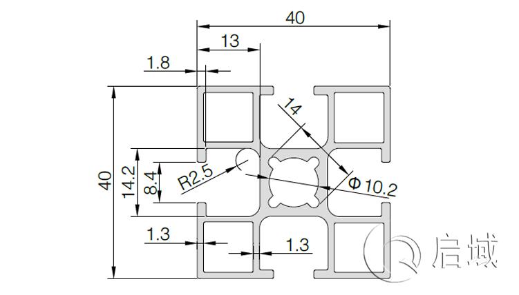 QY-8-4040GB国标铝型材图纸