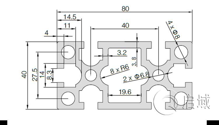 QY-8-4080GW铝型材图纸