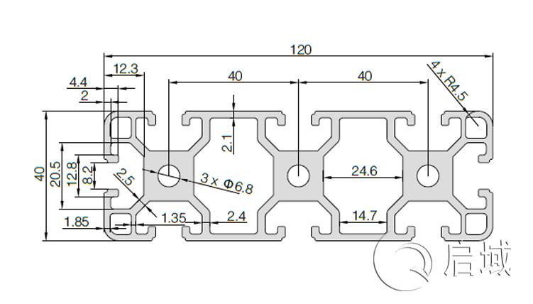 QY-8-40120铝型材图纸