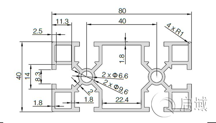 QY-8-4080GA铝型材图纸
