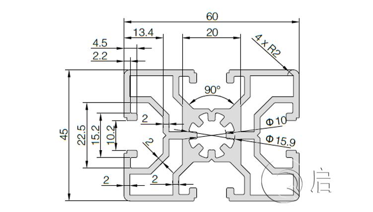 QY-10-4560铝型材图纸