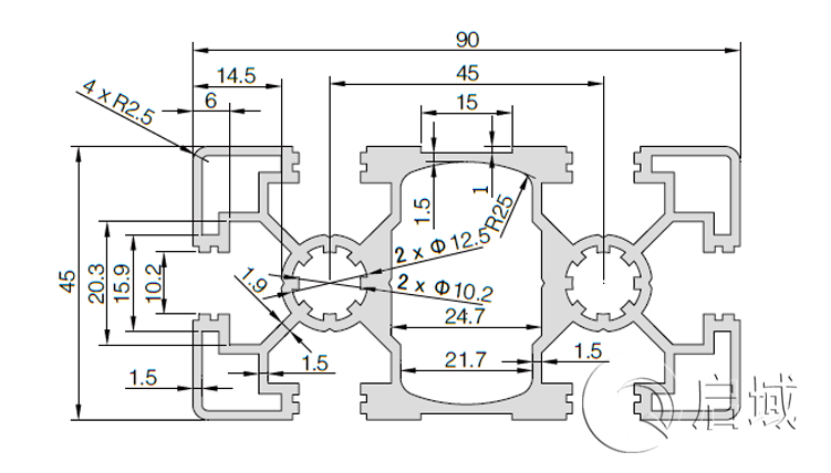 QY-10-4590A铝型材图纸
