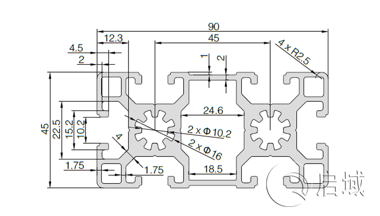 QY-10-4590B铝型材图纸