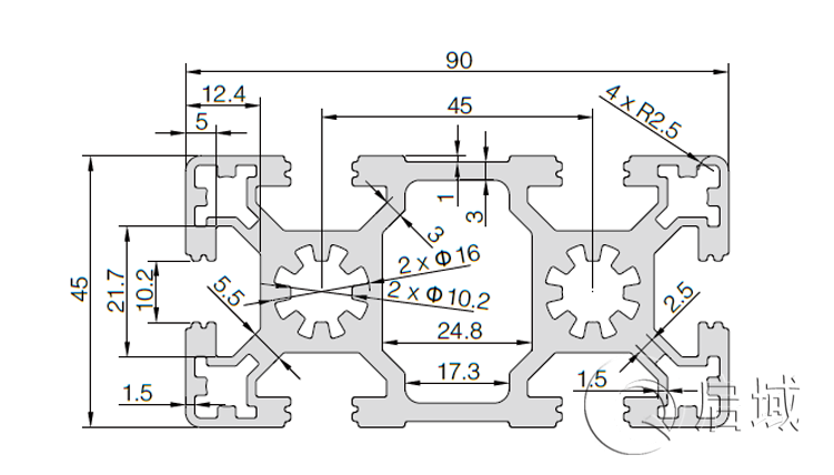 QY-10-4590W铝型材图纸