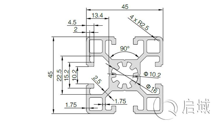 QY-10-4545B铝型材图纸