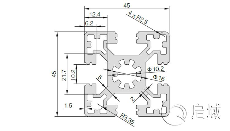 QY-10-4545W铝型材图纸