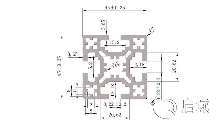 铝型材QY-10-4545E图纸