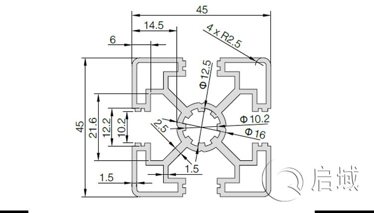 QY-10-4545A铝型材图纸