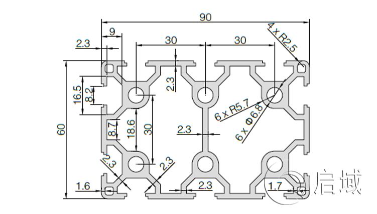 QY-8-6090铝型材图纸