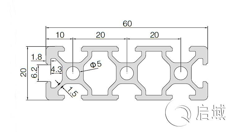 QY-6-2060铝型材图纸