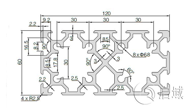 QY-8-60120铝型材图纸