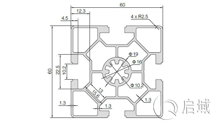 QY-10-6060C铝型材图纸