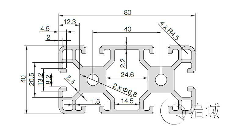 QY-8-4080铝型材图纸