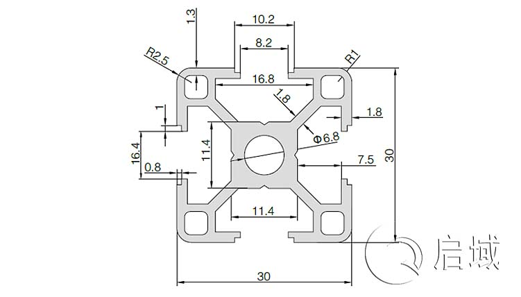 QY-8-3030L铝型材图纸