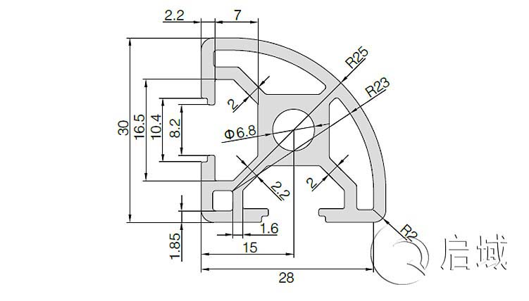 QY-8-3030R铝型材图纸