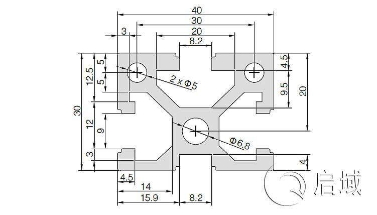 QY-8-3040铝型材图纸