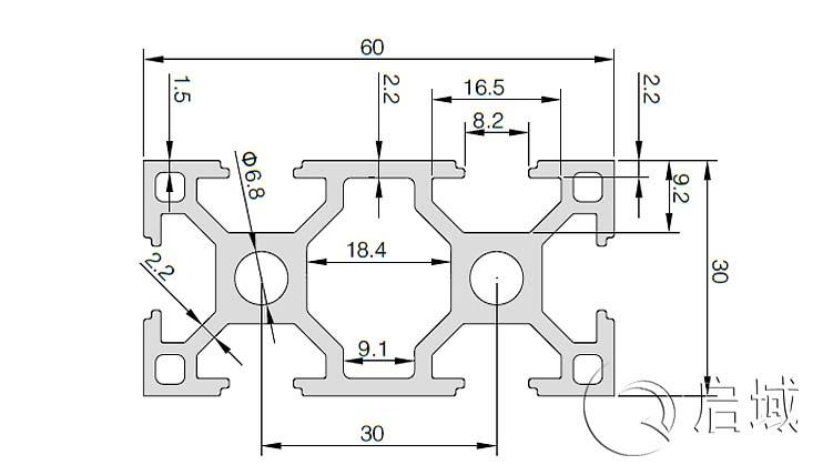 QY-8-3060A铝型材图纸