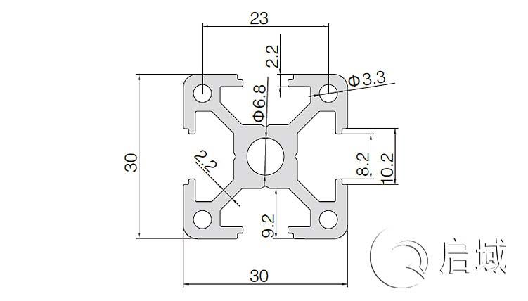 QY-8-3030D铝型材图纸