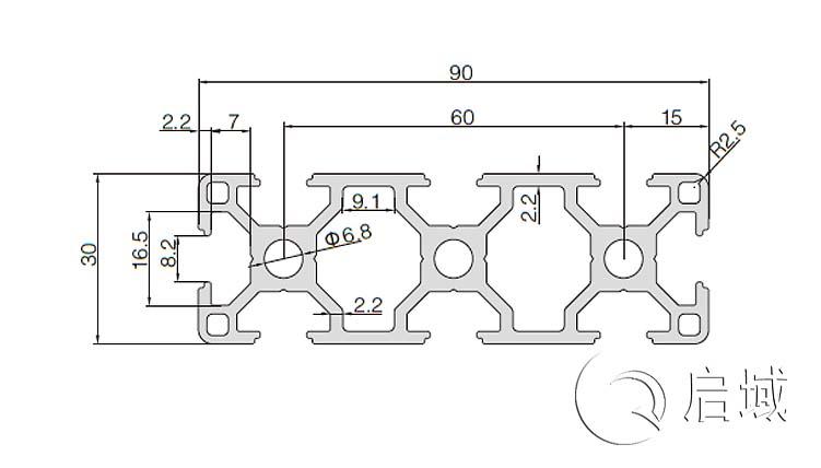 QY-8-3090铝型材图纸