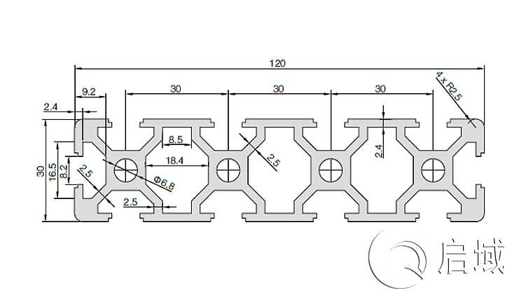 QY-8-30120铝型材图纸