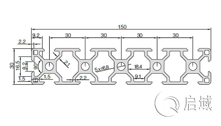 QY-8-30150铝型材图纸