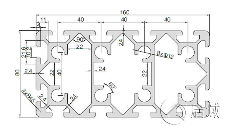 QY-10-80160铝型材图纸