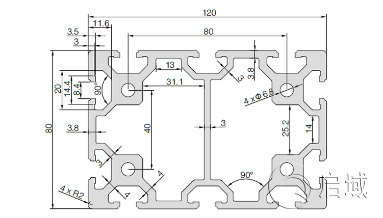 QY-8-80120铝型材图纸