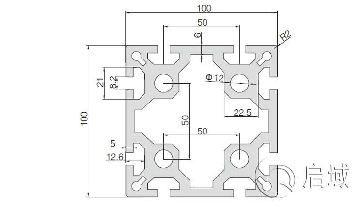 QY-8-100100A铝型材图纸