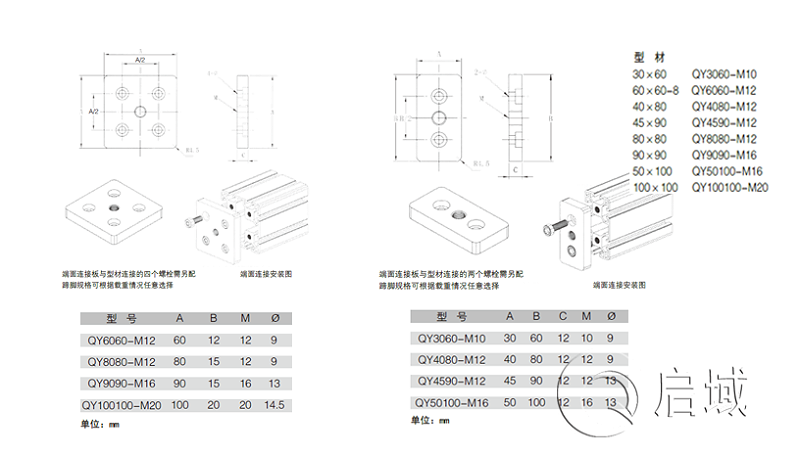 铝型材端面连接