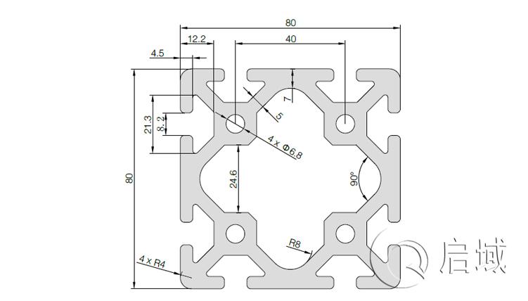 QY-8-8080D铝型材图纸