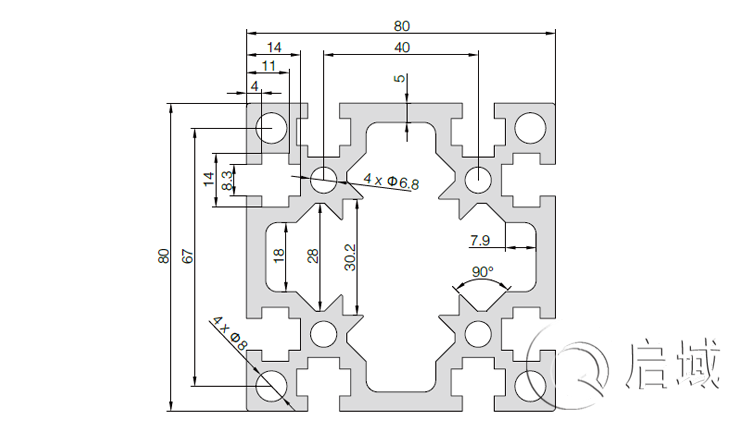 QY-8-8080G铝型材图纸