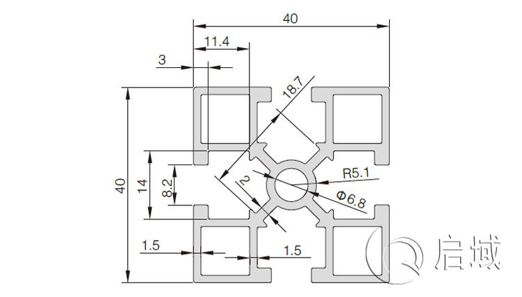 QY-8-4040GA国标铝型材图纸