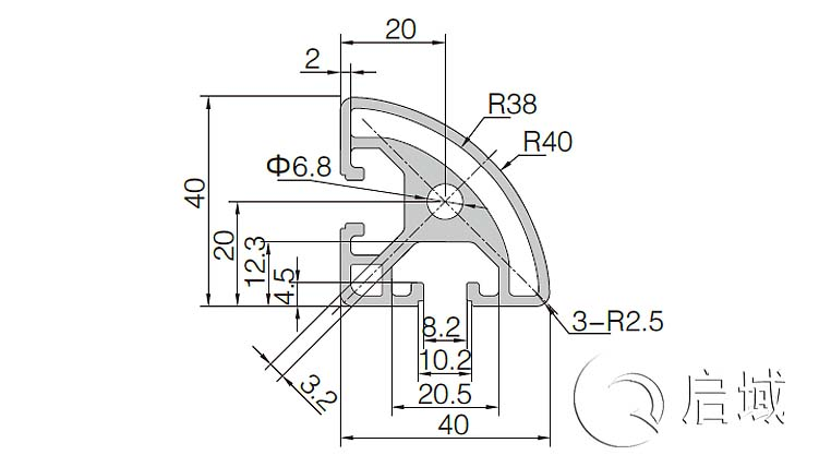 QY-8-4040R铝型材图纸