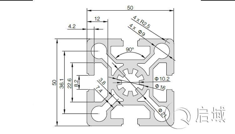 QY-8-5050W铝型材图纸