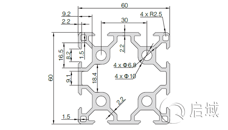 QY-8-6060A铝型材图纸