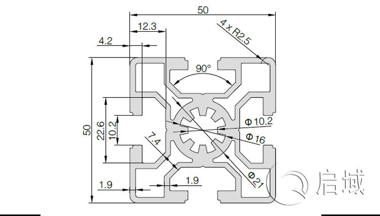 QY-10-5050A铝型材图纸