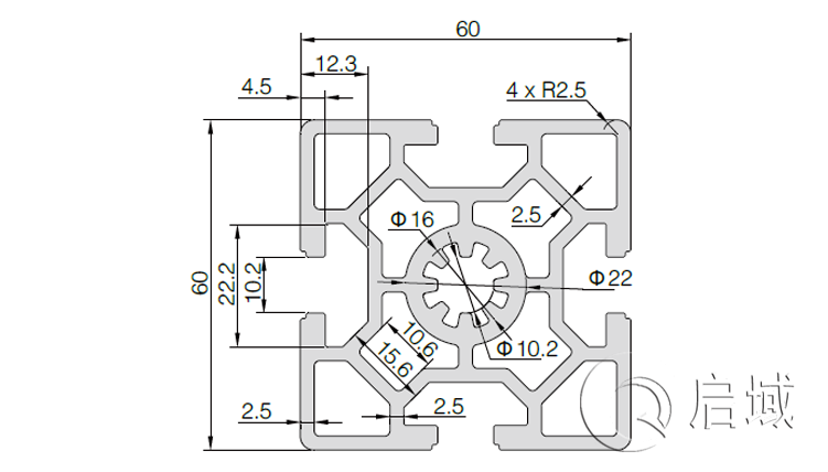 QY-10-6060W铝型材图纸