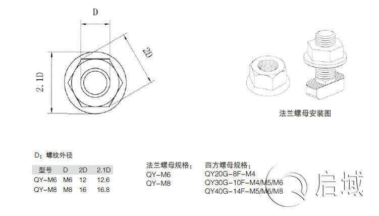 QY-法兰螺母、四方螺母图纸